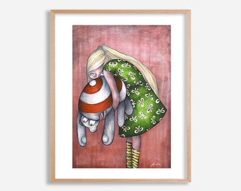 Melancholy art print, gothic painting, surreal artwork by Lotte Teussink, fantasy wall art, pop surrealism, lowbrow art, big eye art