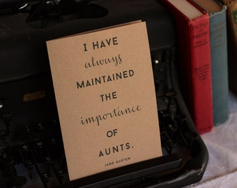 Importance of Aunts Jane Austen Card : Brown Kraft Paper