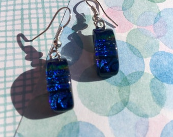 Fused Glass Earrings in Deep Blue