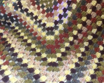 Crochet Afghan Blanket / Granny Square / Throw