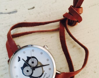 Handmade Owl timepiece bead with leather