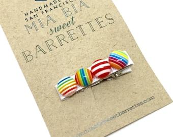 Rainbow Button Hair Clip Barrette