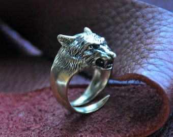 Wolf head bronze ring in ancient slavic style