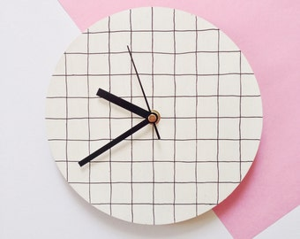 Modern wall clock | white with black grid pattern | minimalist homeware | hand painted home decor | wedding gift