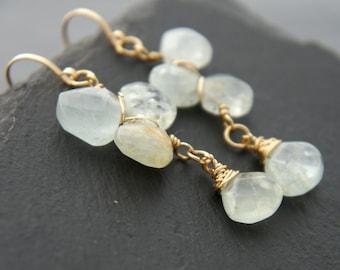 Aquamarine, Gold Filled Earrings, Flower Earrings, Natural Aquamarine, Bohemian Wedding, Something Blue, Bridesmaid Gift, Vine, Petal, Boho
