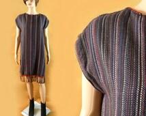 Artisan URUGUAY Dress Wool Fringe Woven Sleeveless Ethnic Hippie Striped Wool Kaftan Caftan Shift Festival South American Made in Uruguay