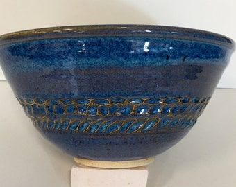 Blue Carved Stoneware Bowl