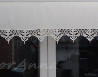 Crochet valance, curtain with crochet lace, cafe curtain.