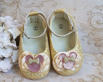 Pink and Gold Minnie Mouse First Birthday Outfit - Gold Sequin Minnie Mouse Shoes - Minnie Mouse Pink and Gold Birthday