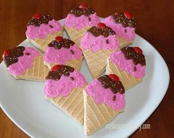 Ice Cream Cone Sugar Cookie - One Dozen - 12 Rolled Decorated Sugar Cookies