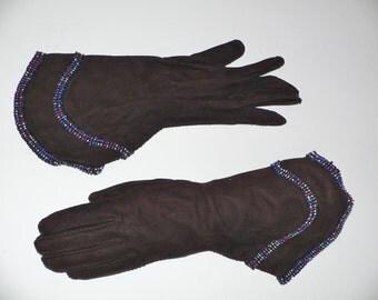 1940's Dark Brown Suede Gauntlet Gloves w Beading