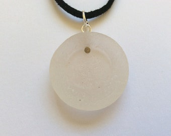 Sea glass necklace, Full moon pendant, Scottish seaglass jewellery, beach accessories