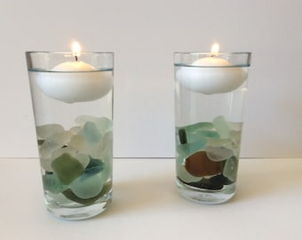 Sea glass candles, floating candle, Scottish Seaglass decor, beach themed decoration, sea glass table centre