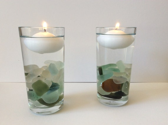 Sea glass candles floating candle Scottish Seaglass decor
