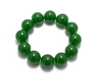 Mens Jade Bracelet/ 18mm Bead Bracelet/ Green Jade Bracelet/ Large Bead Bracelet/ Large Jade Bracelet