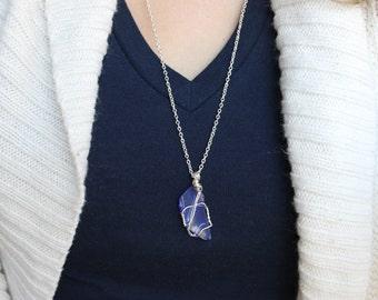 sea glass necklace, christmas gift for her, lake glass necklace, sea glass jewelry, gift for mom, decorative, teacher gift, gift for teacher