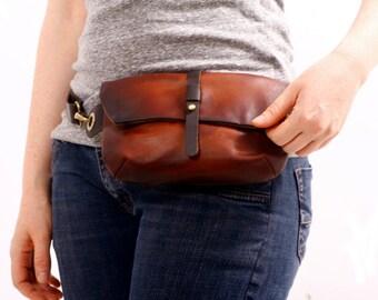 LEATHER Hip Bag - Fanny Pack - Traveler Bag - Utility Hip Belt - Hip Pouch