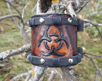 Wide leather cuff bracelet Biohazard,