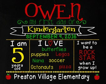 1st First Day of School Kindergarten or Preschool Sign Primary Colors Chalkboard Poster Print Digital File Get if Fast Custom & Personalized