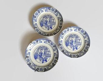 Societe Ceramique plates, Societe Ceramique Maestricht, Maastricht ceramics, Societe Ceramique Canton, 3 Maestricht ceramic plates, 3 plates