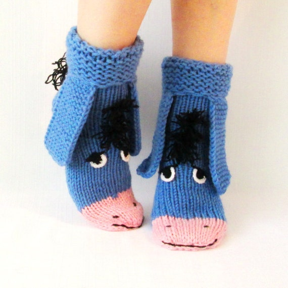 Knitted Tie Patterns : Eeyore knitted socks the donkey from Winnie the by mymomsshop1
