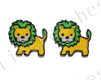 Set 2 pcs. Yellow Lion Green Hair Cute Animal Cartoon New Sew / Iron On Patch Embroidered Applique Size 3.5cm.x3.2cm.