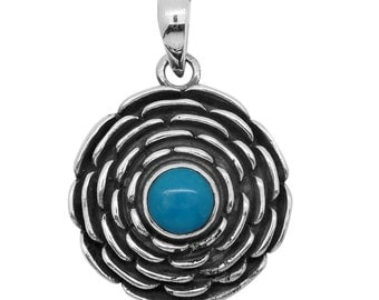 Arizona Sleeping Beauty Turquoise 925 Sterling Silver Pendant without Chain TGW 0.60 Cts.