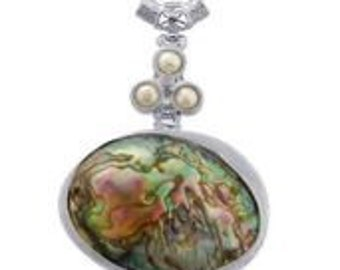 Abalone Shell White Glass Pearls Pendant Without Chain Silver-Tone