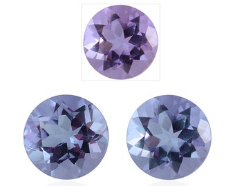 Lavender Alexite Synthetic Color Change Loose Gemstone Set of 2 Round Cut 1A Quality 5mm TGW 0.80 cts.