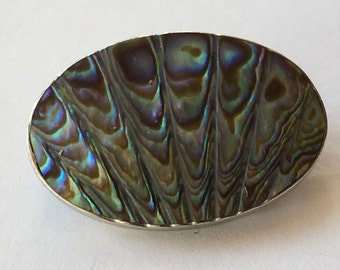Antique Sterling Silver Carved Abalone Mother of Pearl Brooch