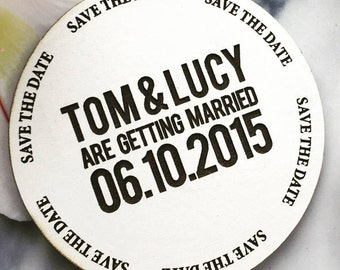 White Round Perspex Save The Date Magnet