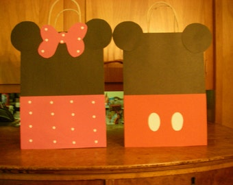 20 PC Disney Minnie Mouse & Mickey Mouse Goody Gift Bags Party Favors Candy Treat Birthday Bags