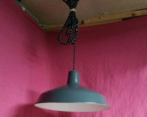 15% Off Through Aug 31st Vintage Industrial Gray Metal Pendant Light Fixture with 12' Cloth Cord, Pull Chain Socket, & Standard Wall Plug, G