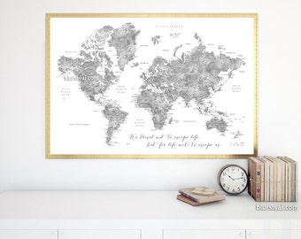 World Map Poster Etsy - Detailed map of world