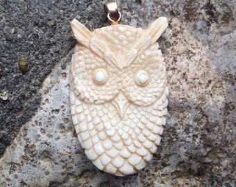 Carved Bone Owl Pendant - 2 1/8 Inches - 54 mm