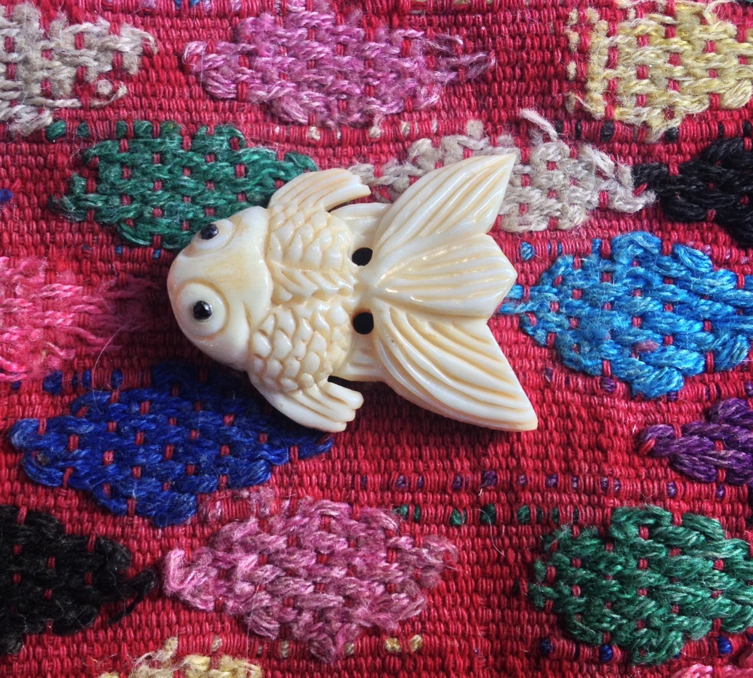 Smaller hand carved bone koi fish bead 1 inch from for Koi fish beads