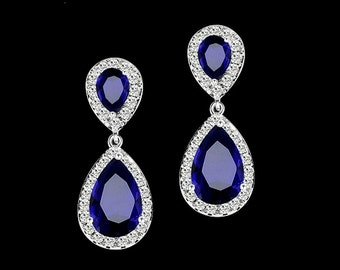 Sapphire teardrop earrings, bridesmaid earrings, cubic zirconia earrings ,bridal jewelry