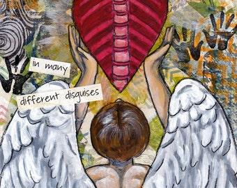 Gift for chiropractor, angel of healing, angel art, chiropractor art, inspirational art, office artwork, wall decor