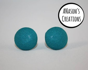 Fabric Covered Button Stud Earrings Surgical Steel