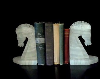 Vintage Onyx Horse Head Bookends, Mid Century Onyx Bookends