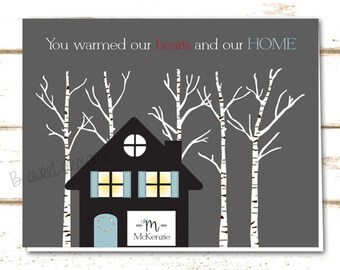 Housewarming Thank-You Card - Birch Tree Scene - New Home Announcement - DIY Printable