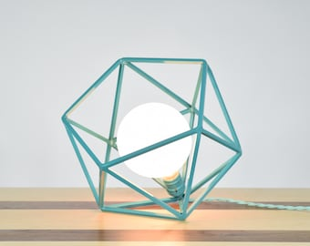 The Mercedes Geometric Table Lamp , Turquoise Table Lamp with Frosted Globe Bulb