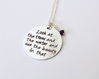 LARGE Custom Quote Necklace, Hand-Stamped Jewelry, Aluminum Stamped Disc, Swarovski Crystal in Color of Your Choice