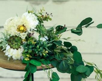 Silk Succulent Rustic Wedding Bouquet - w/ Poppy, Mum, and Ranunculus - Silk Bouquet