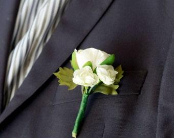 Silk Cream Ranunculus Boutonniere
