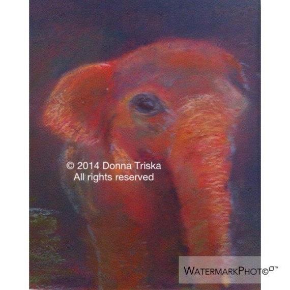 Red Elephant art Print, Baby Elephant  , by Donna Triska 8 x 10 Hand signed Giclee Print.