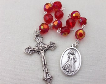 Divine Mercy / St Faustina Pocket Rosary // Divine Mercy Chaplet // Rosary Tenner