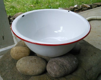Vintage Enamel Ware Bowl, Red and White