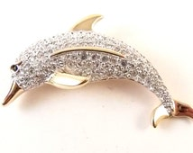 Swarovski Swan Signed Paved Crystal Dolphin Brooch. Swarovski Collection Figural Brooch