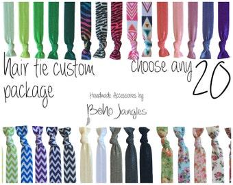 20 Custom Hair Ties, You Choose Mix, Pick 20 Stretchy Hair Ties, Ponytail, Stretch Bracelets, Hair Elastics, Chevron, 20 Elastic Ties